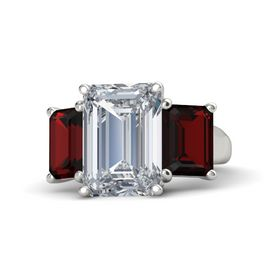 Emerald Diamond Platinum Ring with Red Garnet