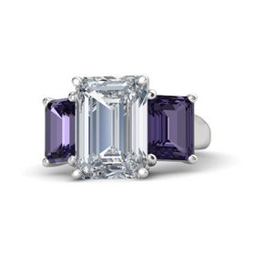 Emerald Diamond Sterling Silver Ring with Iolite