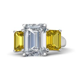 Emerald Diamond Sterling Silver Ring with Yellow Sapphire