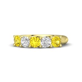 Round Yellow Sapphire 14K Yellow Gold Ring with White Sapphire & Yellow Sapphire