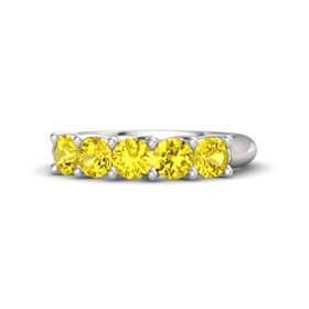 Round Yellow Sapphire Sterling Silver Ring with Yellow Sapphire