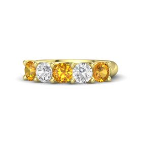 Round Citrine 14K Yellow Gold Ring with White Sapphire and Citrine