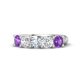 Round Diamond 18K White Gold Ring with White Sapphire and Amethyst