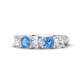 Round Diamond Sterling Silver Ring with Blue Topaz and White Sapphire