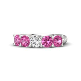 Round White Sapphire Sterling Silver Ring with Pink Sapphire