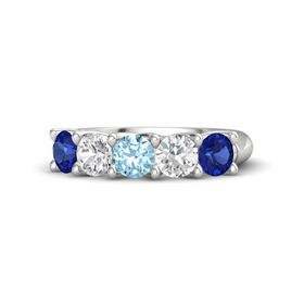 Round Aquamarine Sterling Silver Ring with White Sapphire and Blue Sapphire