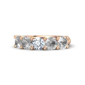 Round Diamond 14K Rose Gold Ring with Rock Crystal