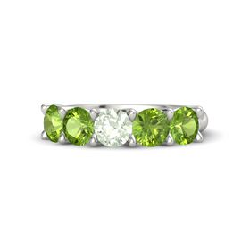 Round Green Amethyst 14K White Gold Ring with Peridot