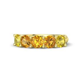 Round Citrine 14K Yellow Gold Ring with Citrine and Yellow Sapphire