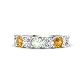 Round Green Amethyst 14K White Gold Ring with White Sapphire and Citrine