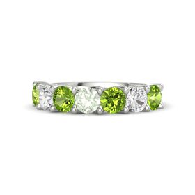 Round Green Amethyst 14K White Gold Ring with Peridot and White Sapphire