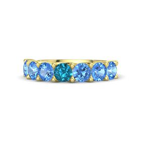 Round London Blue Topaz 14K Yellow Gold Ring with Blue Topaz