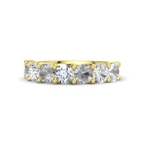 Round Diamond 14K Yellow Gold Ring with Rock Crystal and White Sapphire