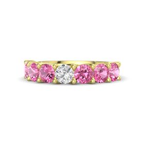 Round White Sapphire 14K Yellow Gold Ring with Pink Tourmaline