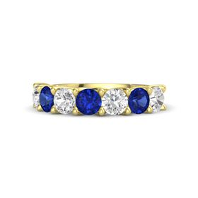 Round Sapphire 14K Yellow Gold Ring with White Sapphire & Sapphire