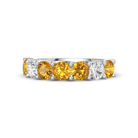 Round Citrine 18K White Gold Ring with Citrine and White Sapphire