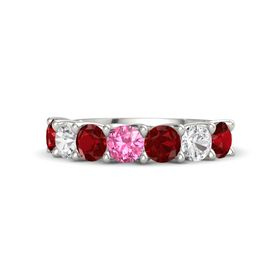 Round Pink Tourmaline Palladium Ring with Ruby and White Sapphire