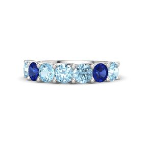 Round Aquamarine Sterling Silver Ring with Aquamarine and Blue Sapphire