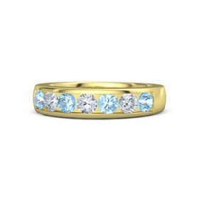 18K Yellow Gold Ring with Blue Topaz & Diamond