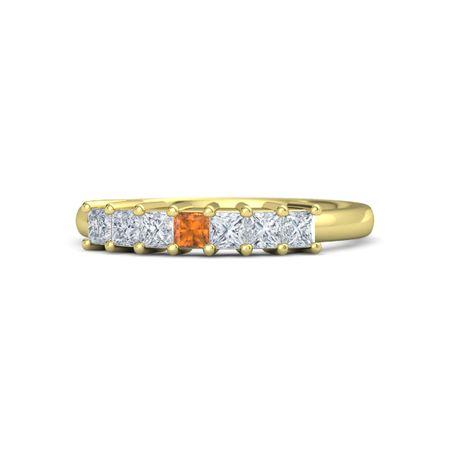 Princess Citrine 14K Yellow Gold Ring with Diamond
