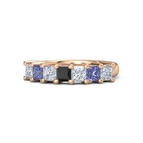 Princess Black Diamond 14K Rose Gold Ring with Diamond and Tanzanite