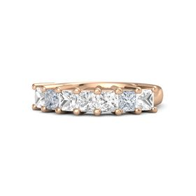 Princess Rock Crystal 14K Rose Gold Ring with Rock Crystal and Diamond