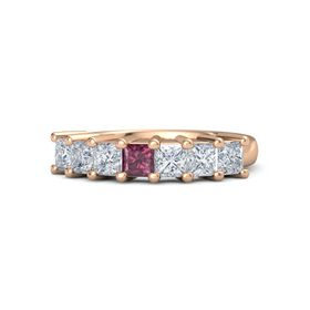 Princess Rhodolite Garnet 14K Rose Gold Ring with Diamond