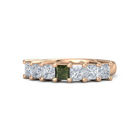 Princess Green Tourmaline 14K Rose Gold Ring with Diamond