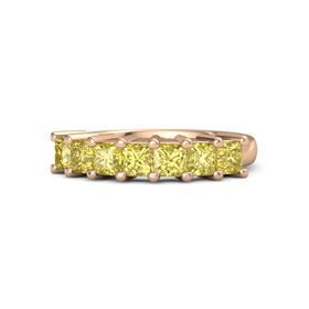 Princess Yellow Sapphire 14K Rose Gold Ring with Yellow Sapphire