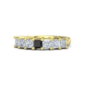 Princess Black Diamond 14K Yellow Gold Ring with Diamond
