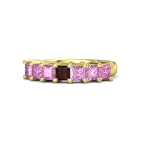 Princess Red Garnet 14K Yellow Gold Ring with Pink Sapphire