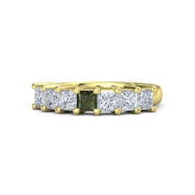 Princess Green Tourmaline 14K Yellow Gold Ring with Diamond