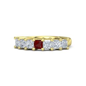 Princess Ruby 14K Yellow Gold Ring with Diamond