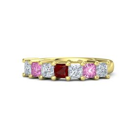 Princess Ruby 14K Yellow Gold Ring with Diamond and Pink Sapphire
