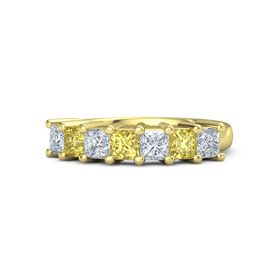 Princess Yellow Sapphire 14K Yellow Gold Ring with Diamond and Yellow Sapphire