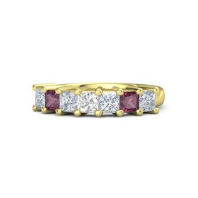 Princess Rock Crystal 18K Yellow Gold Ring with Diamond and Rhodolite Garnet