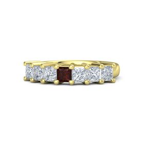 Princess Red Garnet 18K Yellow Gold Ring with Diamond