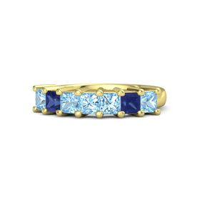 Princess Blue Topaz 18K Yellow Gold Ring with Blue Topaz and Blue Sapphire