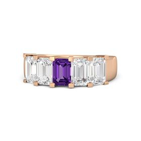 Emerald Amethyst 14K Rose Gold Ring with White Sapphire