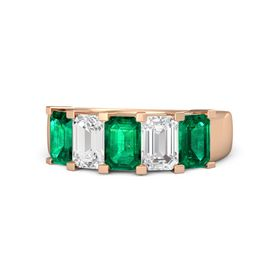 Emerald Emerald 14K Rose Gold Ring with White Sapphire and Emerald