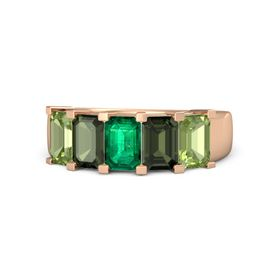 Emerald Emerald 14K Rose Gold Ring with Green Tourmaline and Peridot