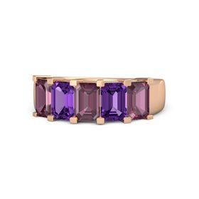 Emerald Rhodolite Garnet 14K Rose Gold Ring with Amethyst and Rhodolite Garnet
