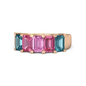Emerald Pink Sapphire 14K Rose Gold Ring with Pink Tourmaline and London Blue Topaz