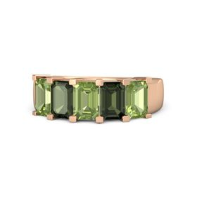 Emerald Peridot 14K Rose Gold Ring with Green Tourmaline and Peridot