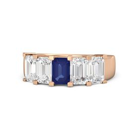 Emerald Blue Sapphire 14K Rose Gold Ring with White Sapphire