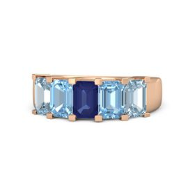 Emerald Blue Sapphire 14K Rose Gold Ring with Blue Topaz and Aquamarine