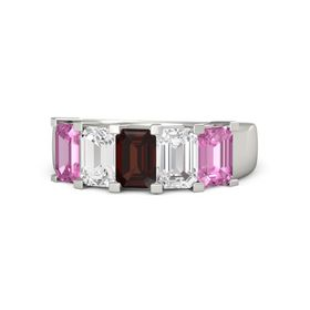 Emerald Red Garnet 14K White Gold Ring with White Sapphire and Pink Sapphire