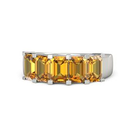 Emerald-Cut Citrine 14K White Gold Ring with Citrine