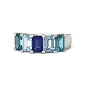 Emerald-Cut Sapphire 14K White Gold Ring with Aquamarine & London Blue Topaz