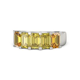 Emerald Yellow Sapphire 14K White Gold Ring with Yellow Sapphire and Citrine